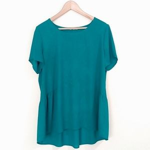 Pleione Teal Short Sleeve Hi Lo Sheer Blouse